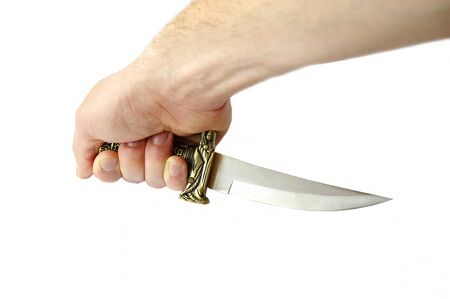 Decorative knife in man hand