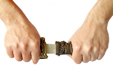 Decorative knife in man hands
