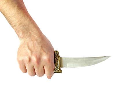 antiquary: Decorativo cuchillo en mano de hombre Foto de archivo