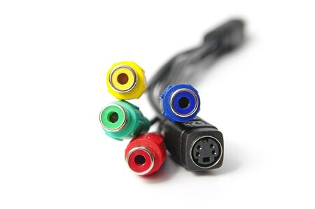 Video coonectors cable isolated on the white background  photo