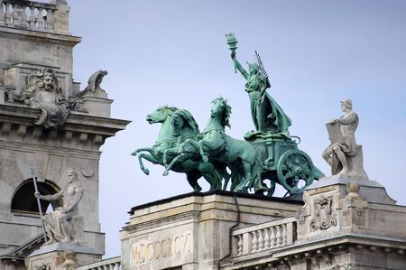 ethnography: Sculpture on the roof of the Museum of Ethnography in Budapest