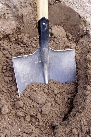 Shovel in de grond Stockfoto