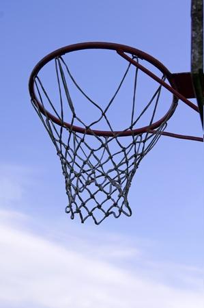 playground basketball: Basket hoop over sky