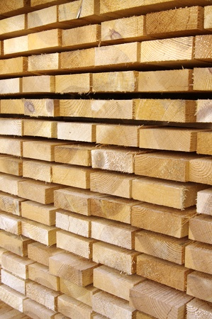Close up view of stacked wooden boards  Stock Photo