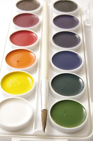 paintbox: Watercolors and brushes