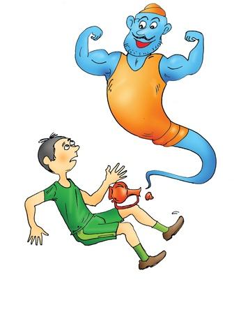 jinni: Happy sporty genie and man  Stock Photo