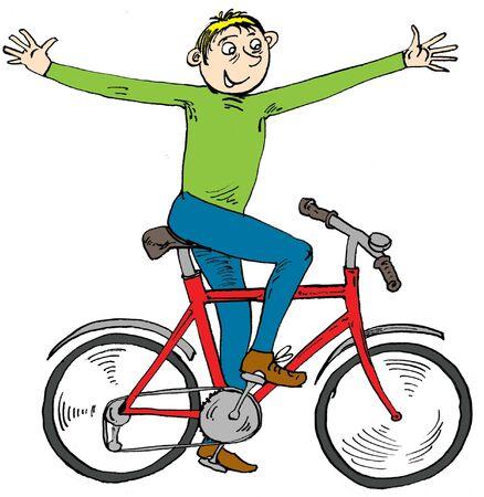 zapatos caricatura: Dibujos animados muchacho en una bicicleta Foto de archivo