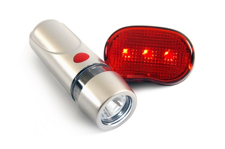 Safety lights for the bicycle on a white background