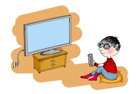 Boy watching tv, cartoon