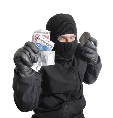 Masked criminal holding a stolen leather purse, isolated on white