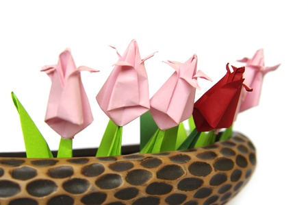 Origami tulips in braun pot, detail photo