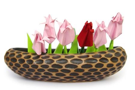 Origami tulips in braun pot photo
