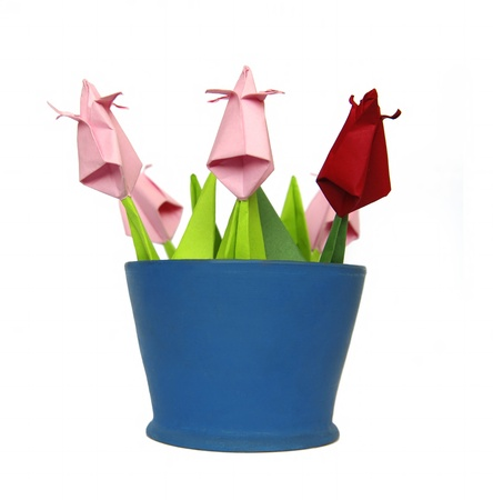 Origami tulips in blue pot photo