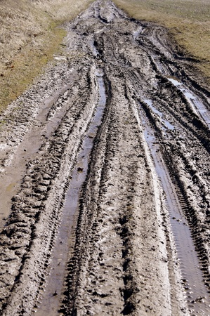 rut: Country muddy rut after rain   Stock Photo