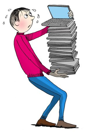 unhappy worker: Unhappy worker bringing pile of notebooks, cartoon  Stock Photo