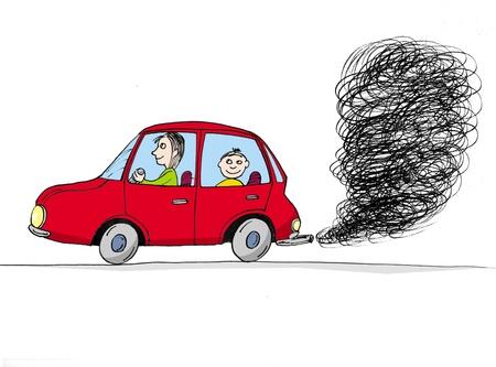 cid: Car with smoke, cartoon