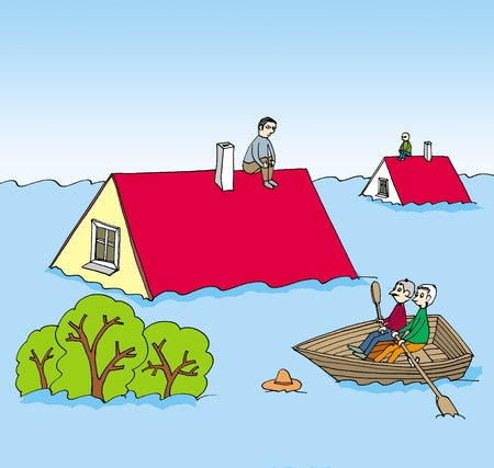 An image of a flood and mans on the roof of his flooded houses Stock Photo