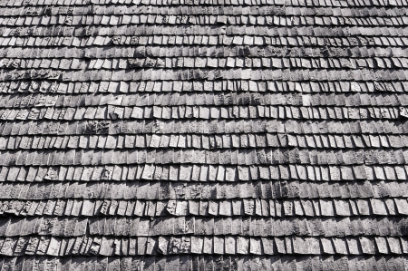 Aged Wooden Background with texture is black and white  The roof  photo