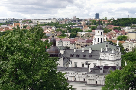 Birds eye view of Vilnius old town from Gediminas Tower, Lithuania  photo