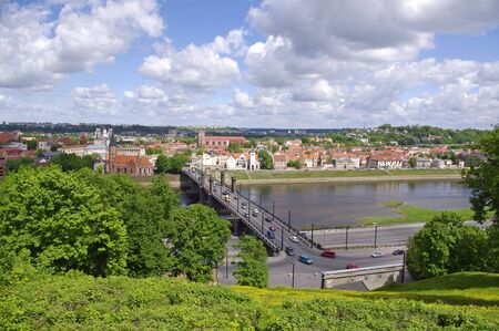 kaunas: Panorama of Kaunas from Aleksotas hill, Lithuania