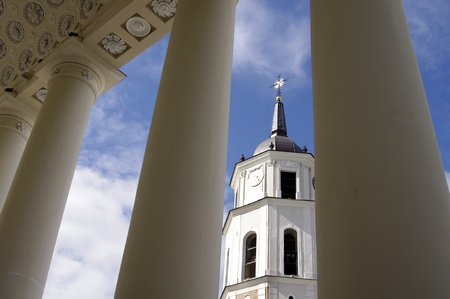 vilnius: Bellfre tower of cathedral of Vilnius, Lithuania Stock Photo