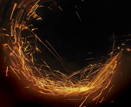 Metal sawing  Hot sparks at grinding steel material