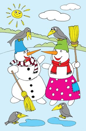 Two snowman standing in the snow. Cartoon photo
