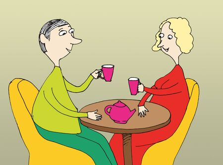 Romantic  couple of people  sitting in a cafe drinking coffee. Cartoon photo