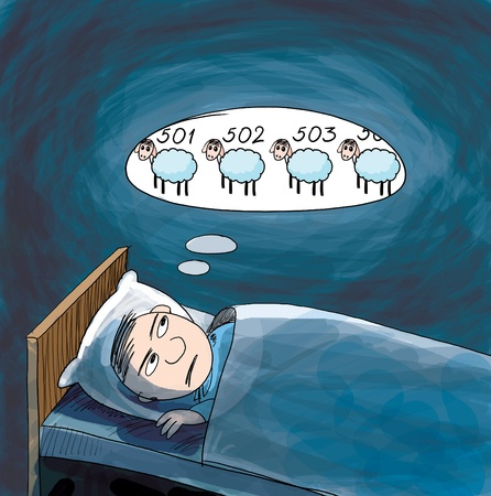 Insomnia. He counting sheep. Cartoon illustration. Stock Photo