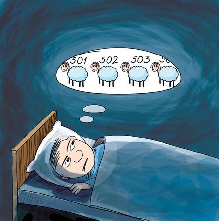 Slapeloosheid. Hij tellen van schapen. Cartoon illustratie. Stockfoto