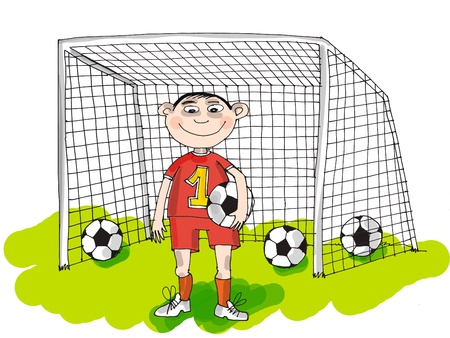 Happy football player, cartoon photo