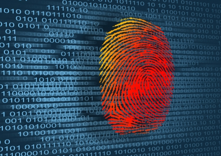 identity thieves: Illustration of the finger print and binary code  Stock Photo