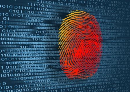 identity thieves: Ilustraci�n de la huella digital y el c�digo binario