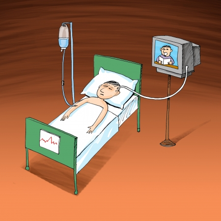 intravenous: Sick man resting at hospital bed with intravenous saline solution and TV connection with his had, cartoon
