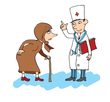 affliction: Patient with a terrible backache, the doctor by his side, cartoon
