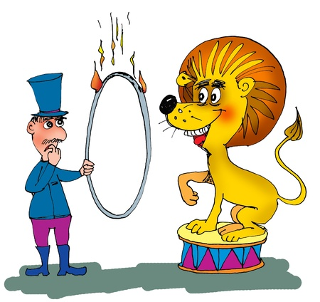 Animal trainer with lion and a ring of the fire, cartoon photo