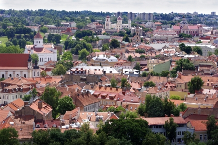 Vilnius old town panorama. Summer time in the day. photo