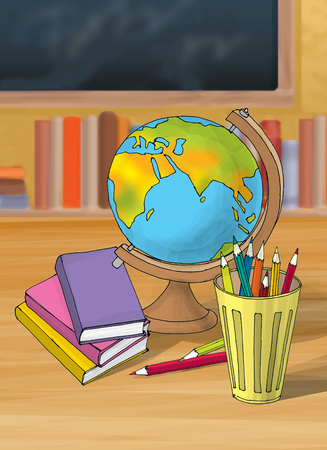 shool: Illustration of colorful book with pencil globe in the shool Stock Photo