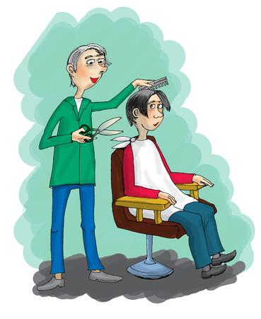 haircutting: Cartoon Hairdresser