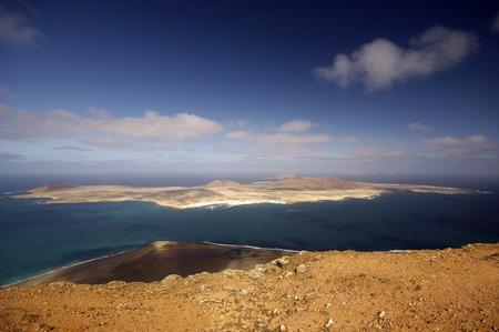 mirador: view from Mirador del Rio in Lanzarote to small island La Graciosa Stock Photo