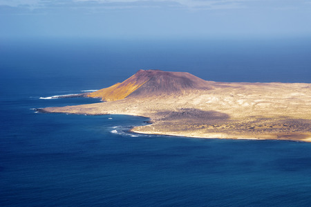 manrique: view to La Graciosa Island from Mirador del Rio. Lanzarote, Canary Islands, Spain. Stock Photo