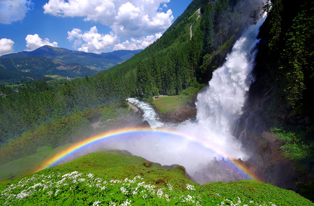 rainbow in krimml waterfalls austria
