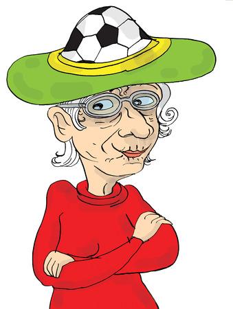 Senior vrouw die gek hoed, voetbal en voetbal fan cartoon