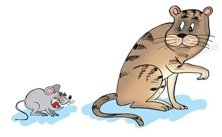 rata caricatura: Historieta de un gato y un rat�n. Rat�n se est� scaryed gato enojado