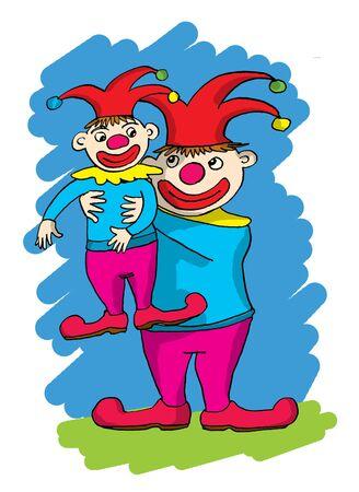 payasos caricatura: Dos payasos de la historieta, uno grande peque�os Foto de archivo