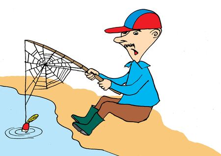 cartoon fishing: Fisherman waiting for fishes.Cartoon