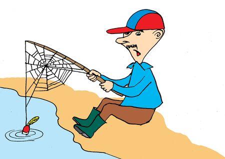 hombre pescando: Pescador en espera de fishes.Cartoon