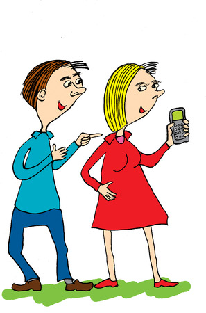 talking phone: Man and woman talking. Man is asking women phone number.Cartoon Stock Photo