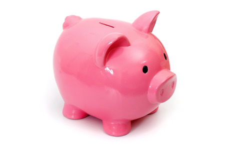 credit crunch: Pig bank, Isolated on White a Background.