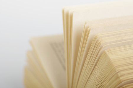 hardcovers: Close-up of opened books pages.
